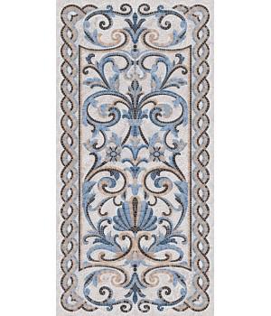 Мозаика синий декорированный лаппатированный