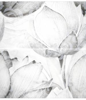 Панно настенное Каррарский Мрамор 1609-0019 50x45 цветы (комплект из 2 шт)